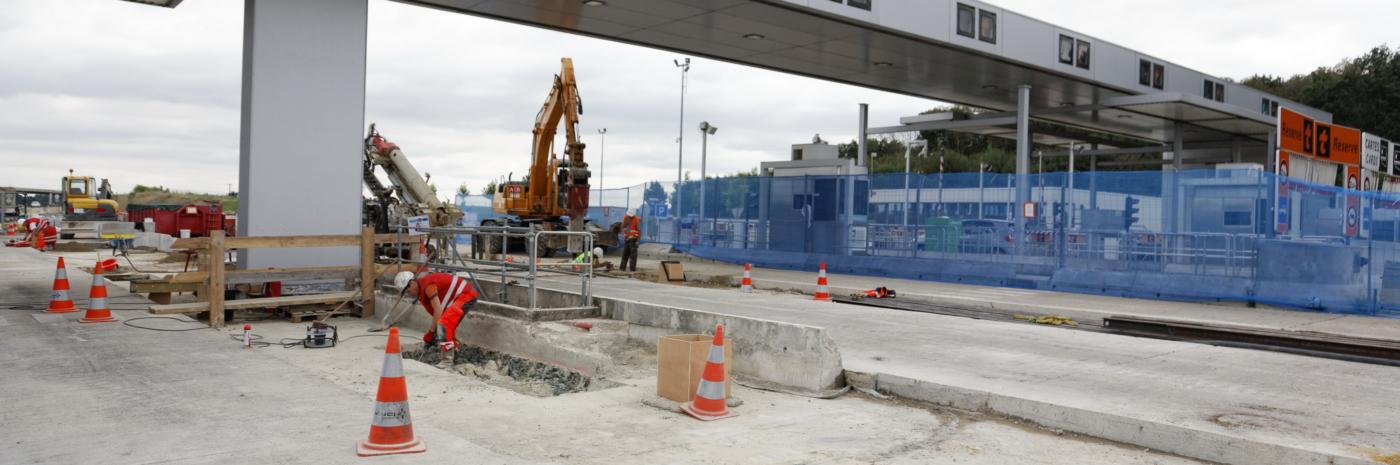 Construction des dalles de péage pour le TSA de St Christophe
